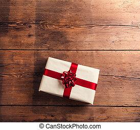 Christmas present on a table