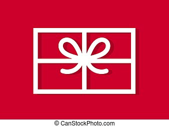 Christmas present on red background card.