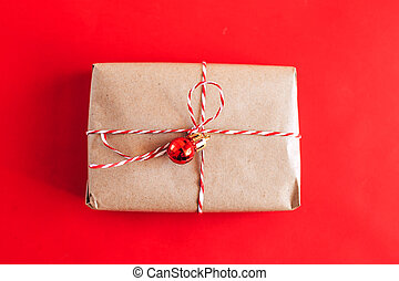 Christmas present on red background