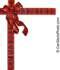 Christmas Present plaid ribbons and Bow Background on white with copy space for greeting card or invitation.