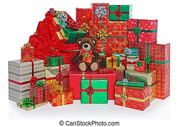Christmas present sack and gifts.