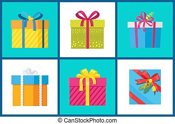 Christmas Present Set of Icons Vector Illustration