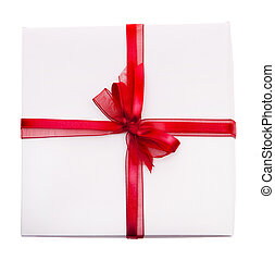 christmas present box on white background