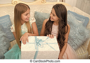 Christmas present. The morning before Xmas. Little girls. Happy new year. Winter. xmas online shopping. Family holiday. Christmas tree and presents. Child enjoy the holiday