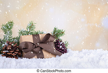 Christmas Present With Falling Snow