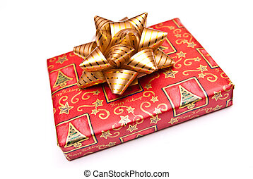 christmas present with gold bow isolated on white background