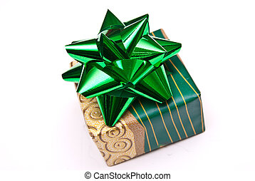 christmas present with green bow isolated on white background