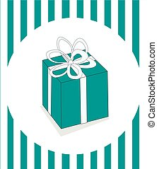 Christmas present with ribbon on a light background