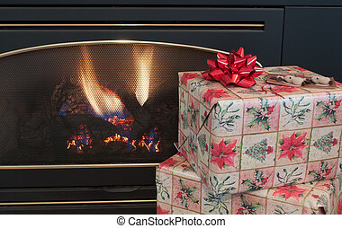 Christmas presents by fireplace