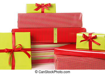 Christmas presents in red and green.