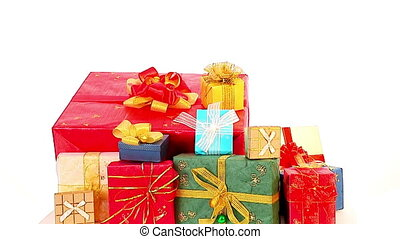 Christmas presents in woman hands . Xmas sale for girl . -...