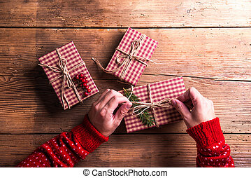 Christmas presents on a table
