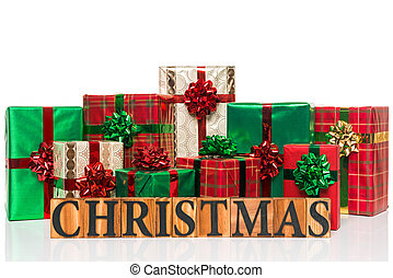 Christmas presents on a white background