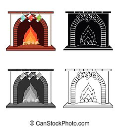 Christmas presents on the fireplace single icon in cartoon,black,flat,monochrome style for design. Christmas vector symbol stock illustration web.