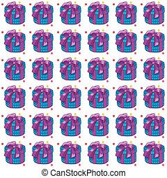 Christmas presents seamless pattern. Vector illustration of cartoon gifts isolated on white. Patter for paper decorate