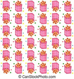 Christmas presents seamless pattern. Vector illustration of cartoon gifts isolated on white