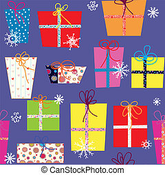 Christmas presents seamless pattern with snow