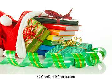 Christmas presents with e-book reader and books in bag...