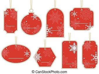 Christmas Price Tag - Hanging Red Label Set, Illustration ...