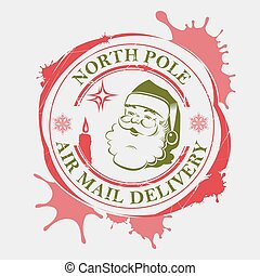 Christmas print with a silhouette of Santa Claus, red and green with large blots.
