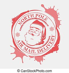 Christmas print with snowflakes, big blots and a silhouette of Santa Claus,
