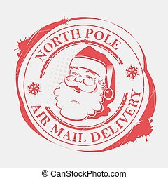 Christmas print with snowflakes, blots and a silhouette of Santa Claus,