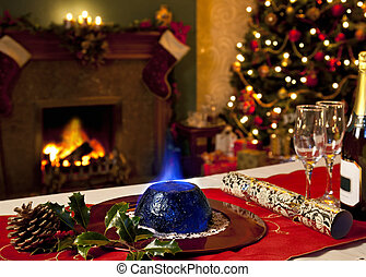 Christmas Pudding and Festive Fireplace