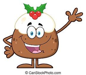 Christmas Pudding Cartoon Character - Happy Christmas...