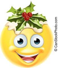 Christmas Pudding Emoticon Emoji - A Christmas pudding...