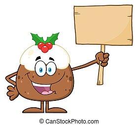 Christmas Pudding Holding A Blank