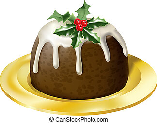 christmas pudding - an illustration of a yummy glossy...