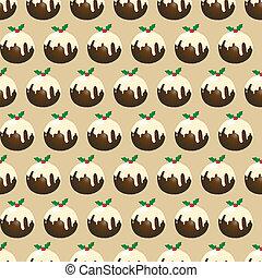 Christmas pudding seamless - A seamless design of Christmas...