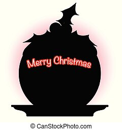 Christmas Pudding SIlhouette - A cartoon style comic...
