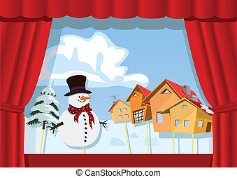 Christmas puppet theater.Village of snowman