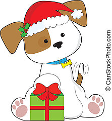 Christmas Puppy - A cute puppy wearing a Santa hat, sits by...
