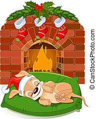 Christmas puppy near fireplace - Cute little puppy with ...