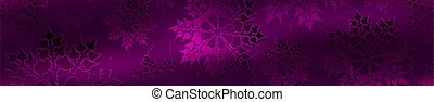 Christmas purple background with gradient, set of gorgeous snowflakes