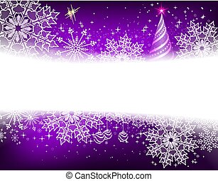 Christmas purple background with snowflakes, balls and abstract christmas tree
