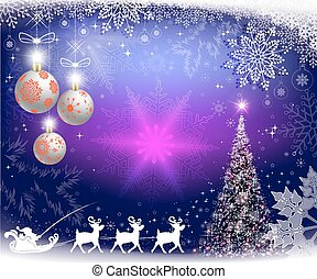 Christmas purple background with snowflakes, Christmas tree and Santa Claus on deer