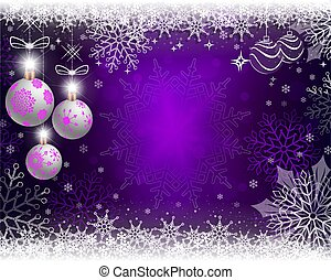 Christmas purple background with three white balls with snowflakes.