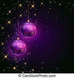 christmas purple ball festival card with sparkles