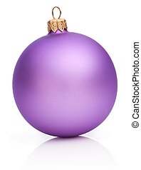 Christmas Purple Ball Isolated on white background