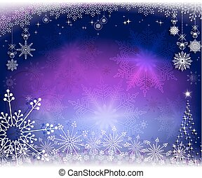 Christmas purple, blue design with snowflakes