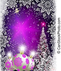 Christmas purple card with shiny spruce, Christmas balls and snowflakes