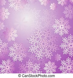 Christmas purple composition with a set of elegant white snowflakes, frame.