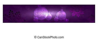 Christmas purple composition with gradient, set of light balls with snowflakes and reflection