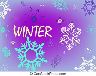 Christmas purple delicate background with a set of randomly drawn beautiful snowflakes