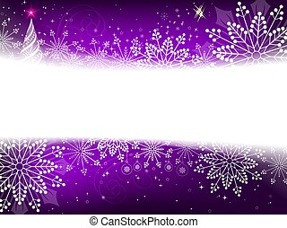 Christmas purple design with a silhouette of an abstract Christmas tree and snowflakes
