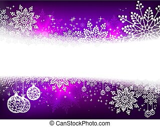 Christmas purple design with numerous white, elegant snowflakes and balls in retro style,