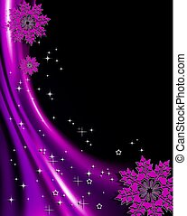 Christmas purple design with silhouette of red elegant snowflakes.